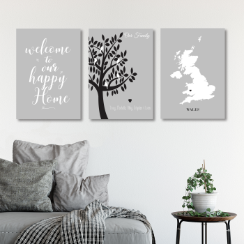 Welcome to our happy home 3pce Family Print