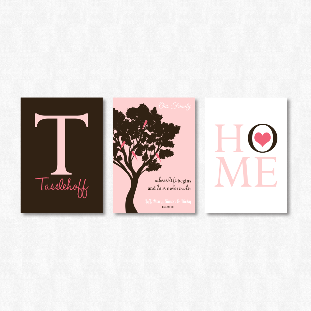 3pc Family Tree Print Set