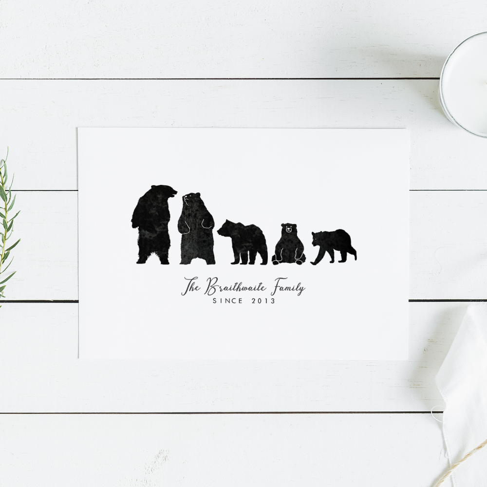 Personalised Black Bears Family Print
