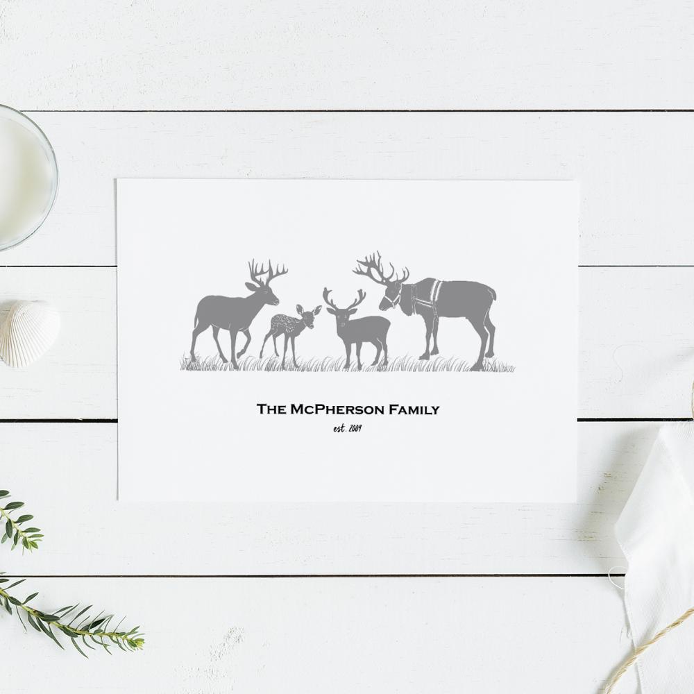 Reindeer Family Print