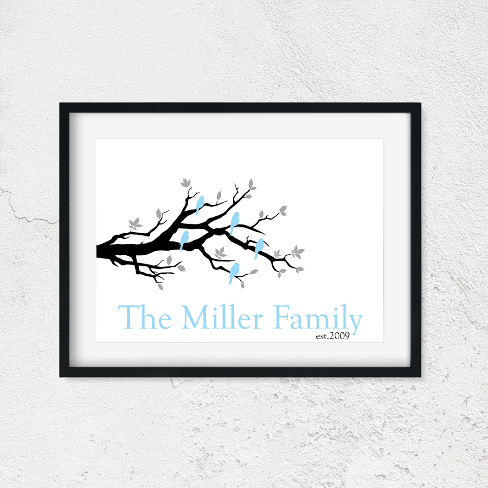 Personalised Family Tree Branch Print