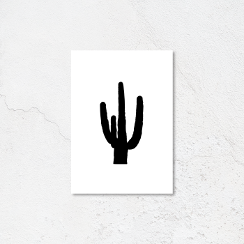 Black and White Cactus Print print