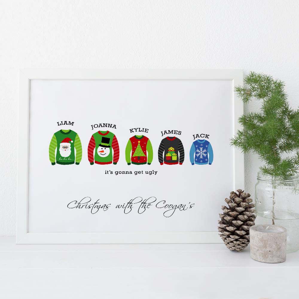 Ugly Christmas Jumper family print