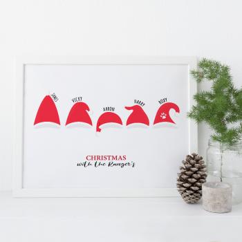 Santa Hats family print