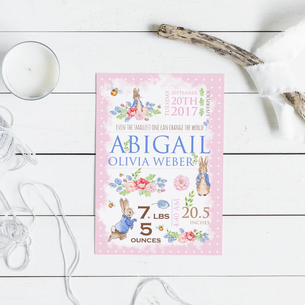 Personalised Peter Rabbit Girls Nursery Print