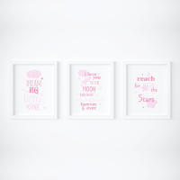 Set of 3 Dream Big Pink Nursery Prints