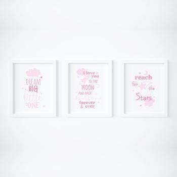 Set of 3 Dream Big Pink Nursery Prints