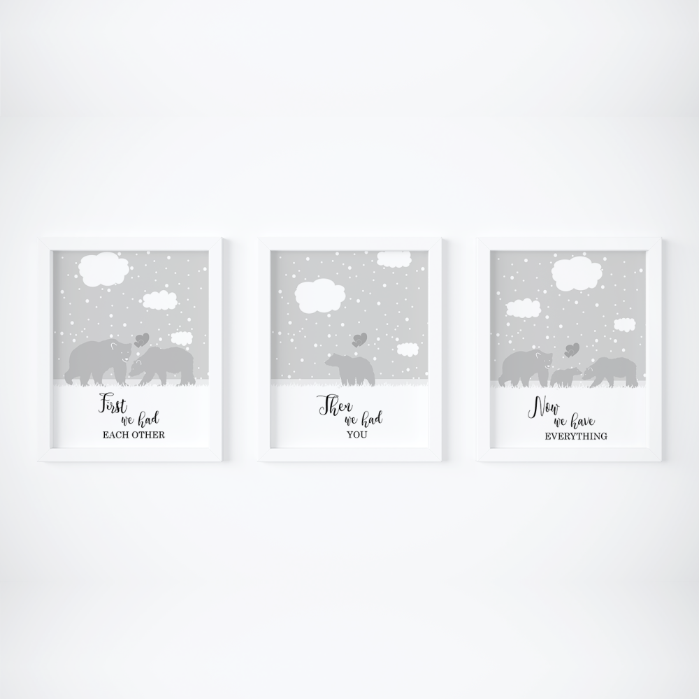 Set of 3 First We Had Each other Bears Nursery Prints