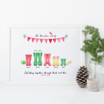 Wellington Boots family print