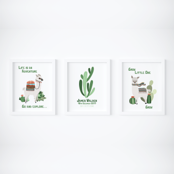 Set of 3 Cactus Nursery Prints
