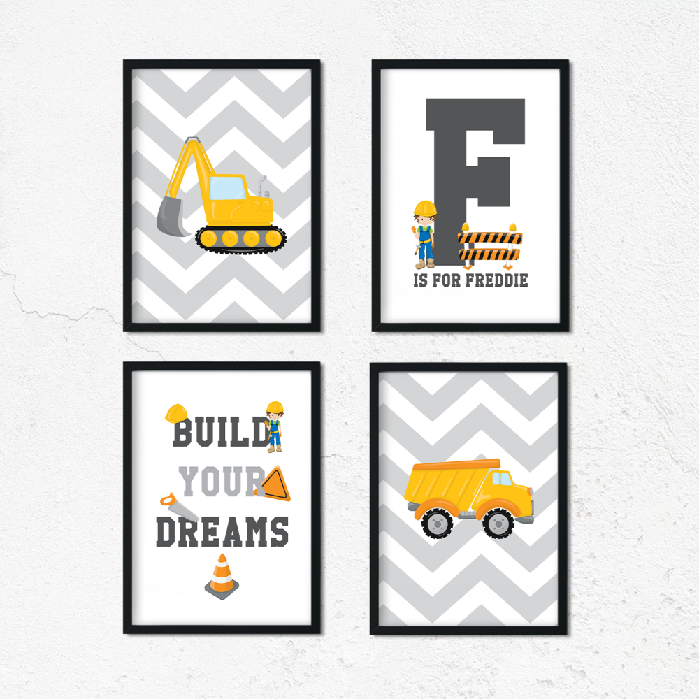 Set of 4 Construction Room Prints