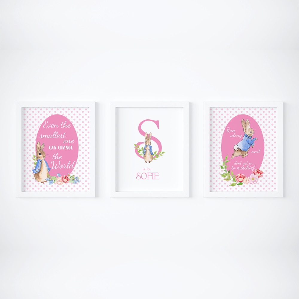 Set of 3 Peter Rabbit Girls Pink Dots Nursery Prints