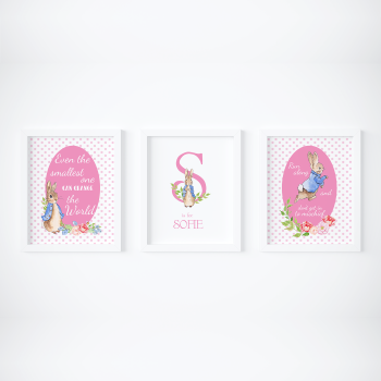 Set of 3 Peter Rabbit Girls Pink Dots Nursery Prints