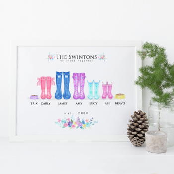 Personalised Wellington Boots family print