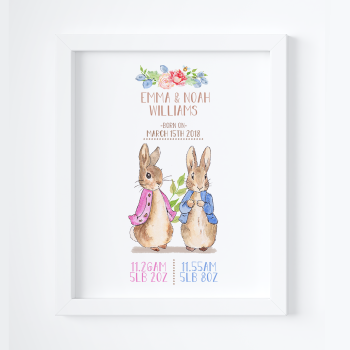 Peter Rabbit Nursery Prints for Twins