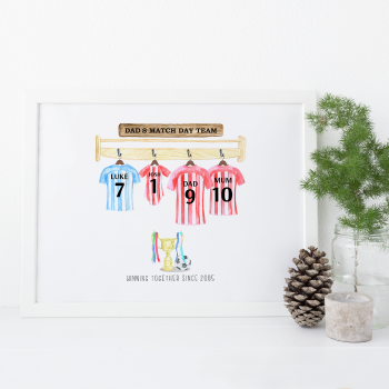 Dad's Match Day Team Football Print