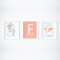 Set of 3 Oh the places you will go coral prints