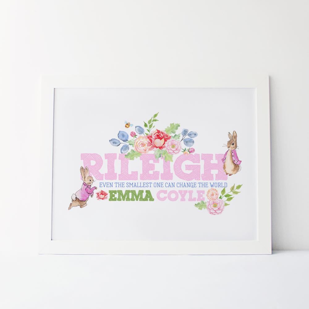 Peter Rabbit Girls Personalised Name Print
