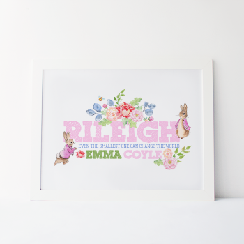 Peter Rabbit Girls Personalised Name Print