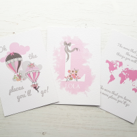 Set of 3 Oh the places you will go pink and grey prints