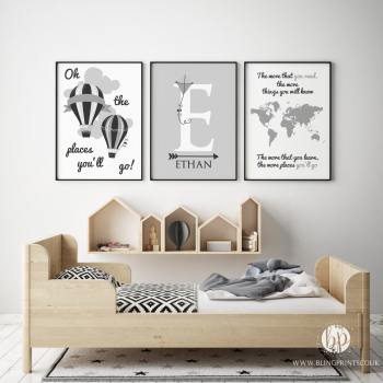 Oh the places you will go grey print set