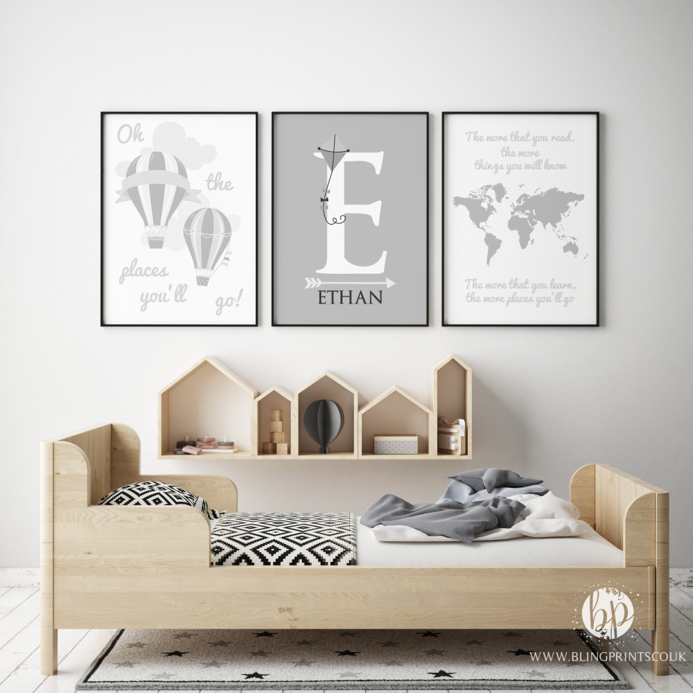 Oh the places you will go light grey print set