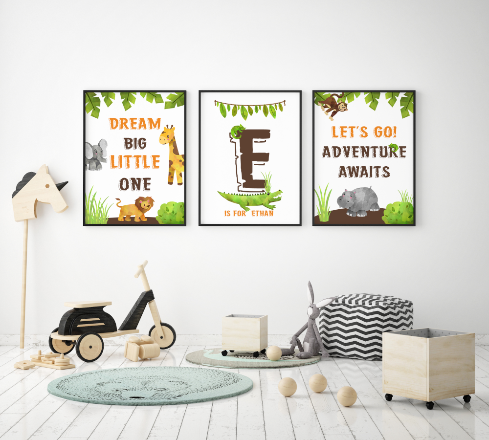 3pc Jungle Animals print set