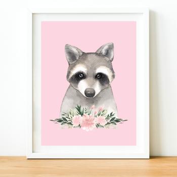 Raccoon Watercolour print