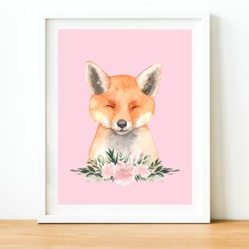 Sleepy Fox Watercolour print