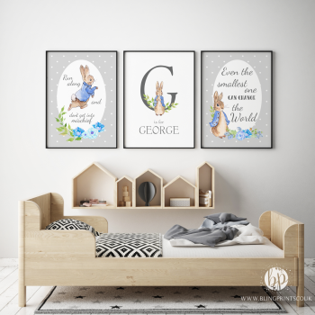 Grey Peter Rabbit Nursery Prints