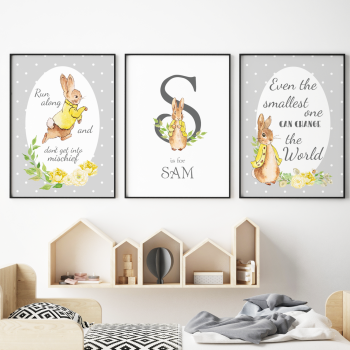 Grey and Yellow Peter Rabbit Nursery Prints