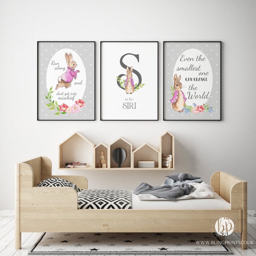 Grey and Pink Peter Rabbit Nursery Prints