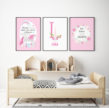 All Pink Unicorn 3pc Nursery Prints