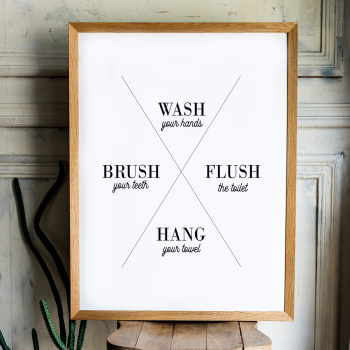 Wash brush flush hang print