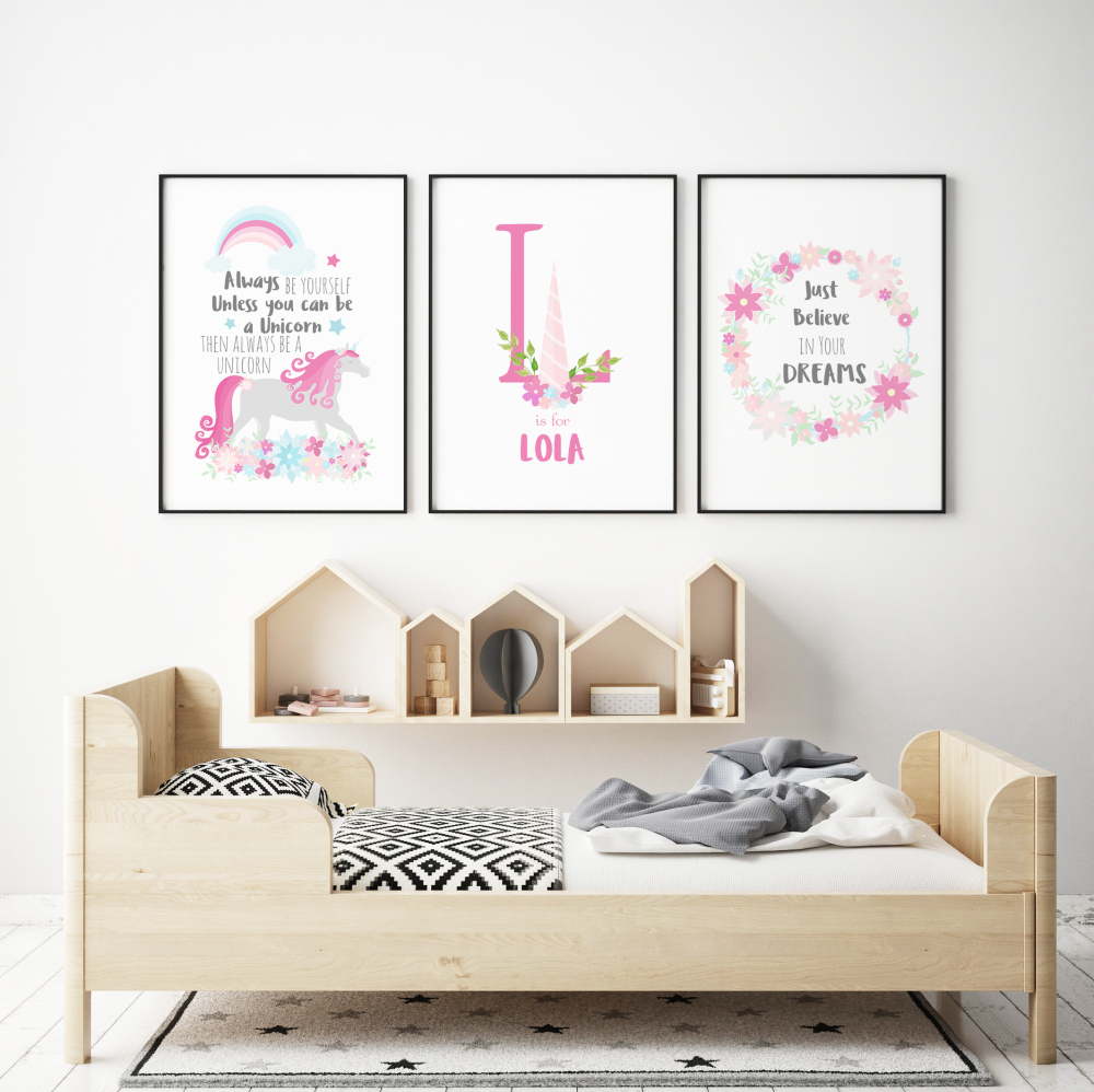 White and Pink Unicorn 3pc Nursery Prints