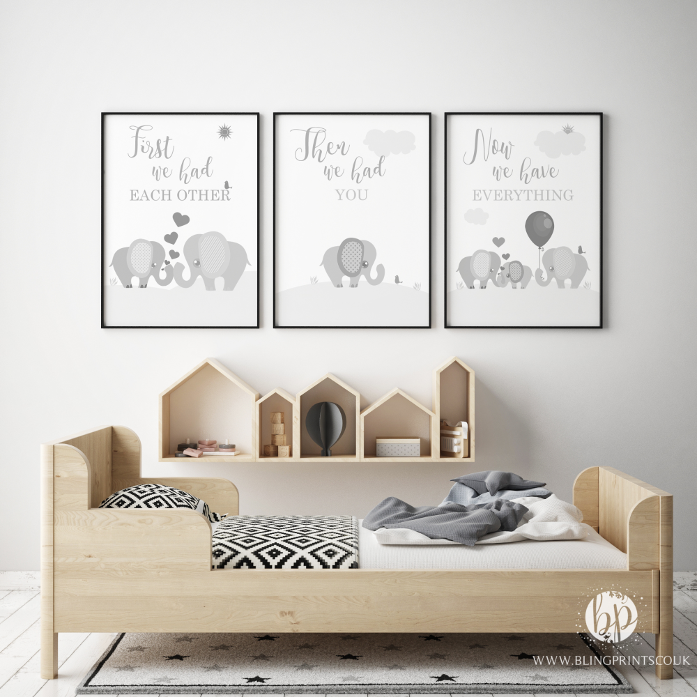 Set of 3 First We Had Each other Elephant Nursery Prints Grey