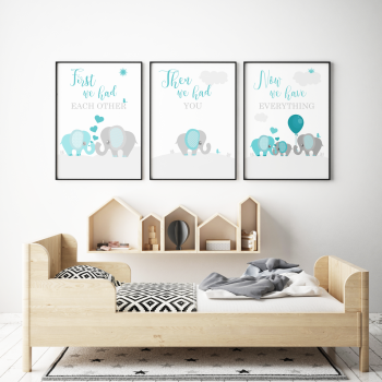 Set of 3 First We Had Each other Elephant Nursery Prints Teal