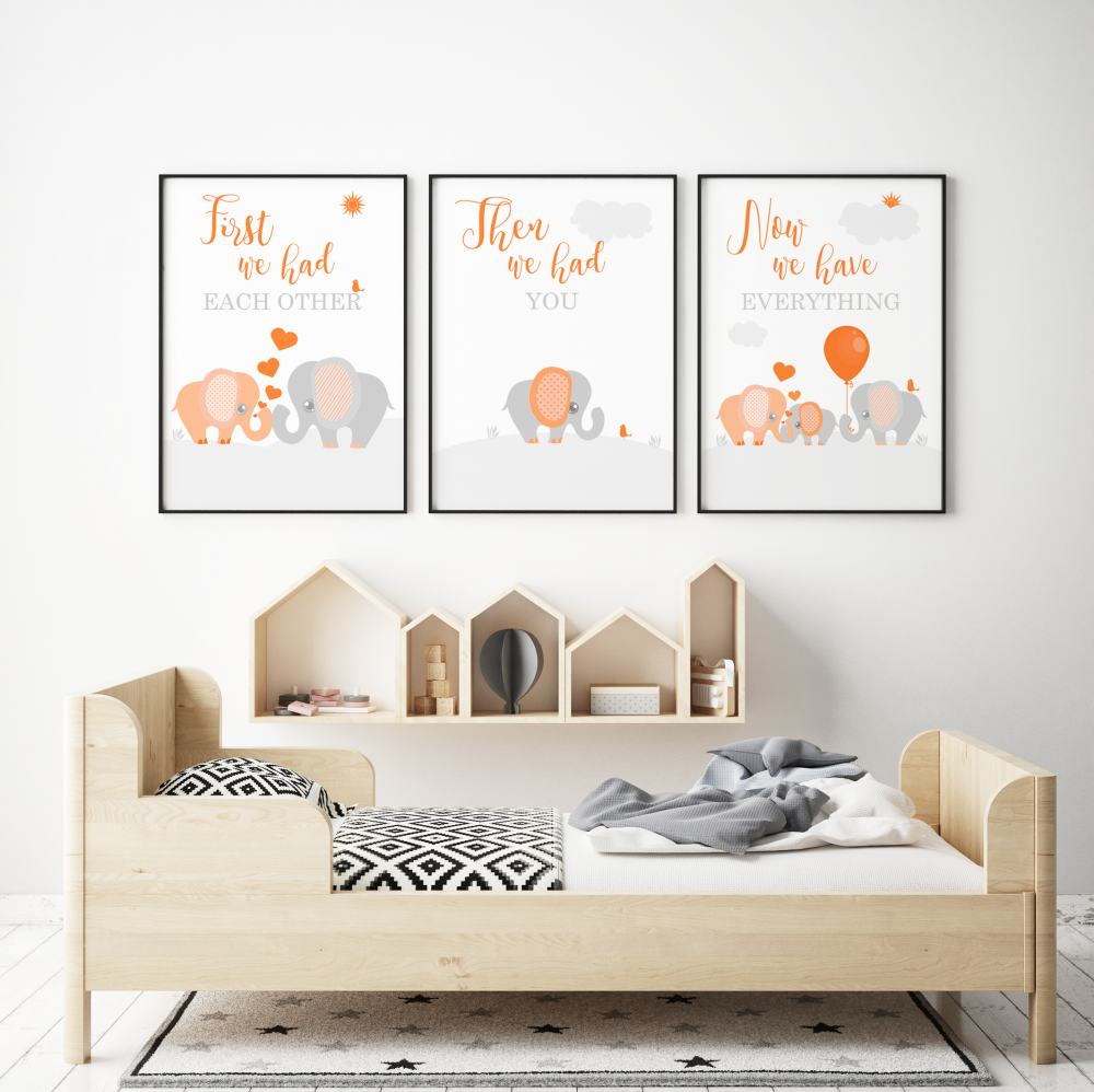 Set of 3 First We Had Each other Elephant Nursery Prints Orange