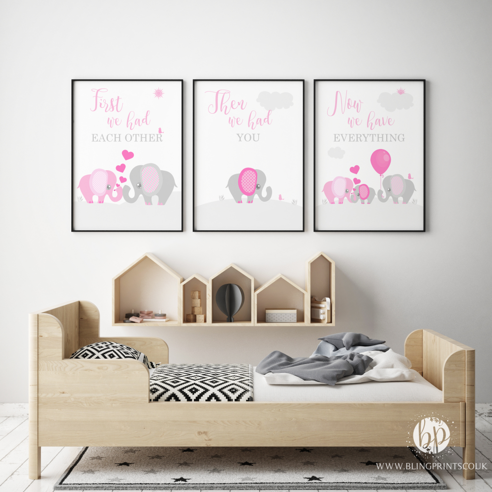 Set of 3 First We Had Each other Elephant Nursery Prints PINK