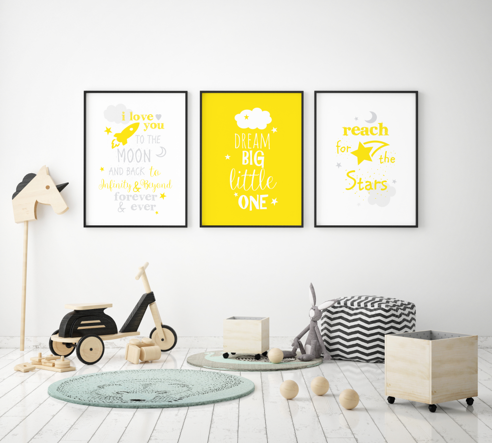Dream Big Little One Yellow Grey Set