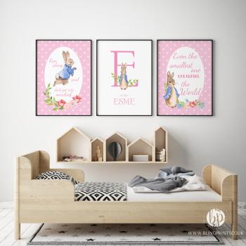 Set of 3 Peter Rabbit Girls Nursery Prints