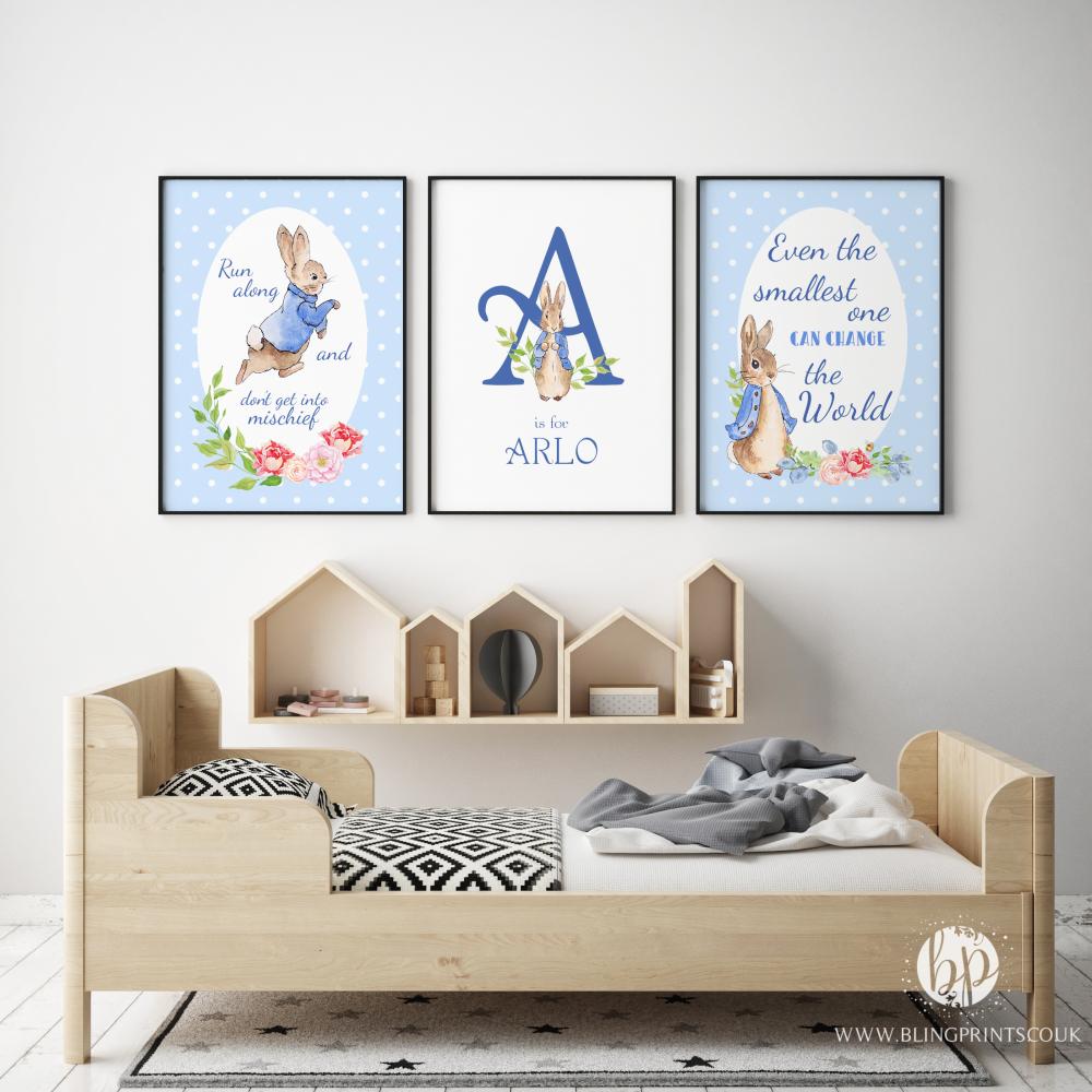 Set of 3 peter rabbit nursery prints - Peter rabbit nursery border ...