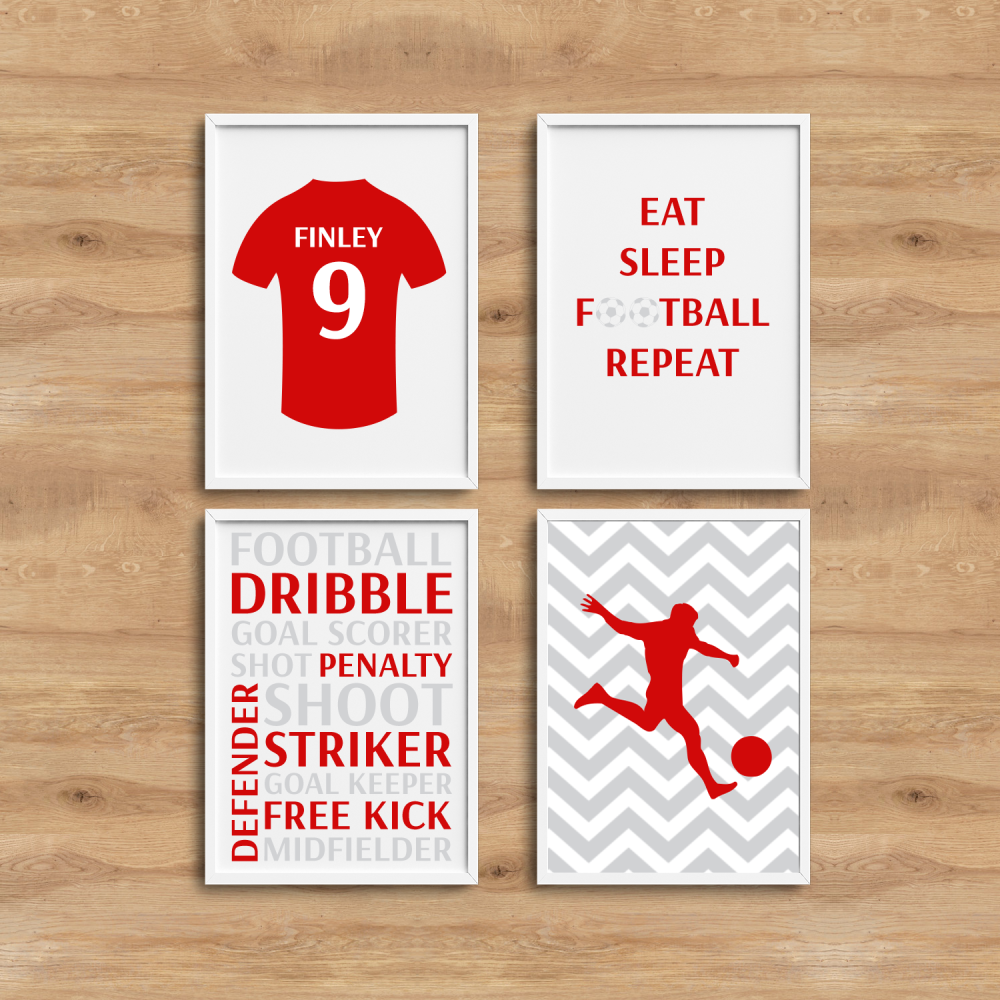 4pc Football Room Decor Prints