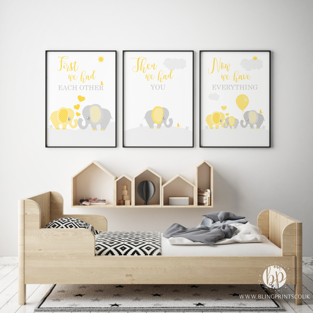 Set of 3 First We Had Each other Elephant Nursery Prints