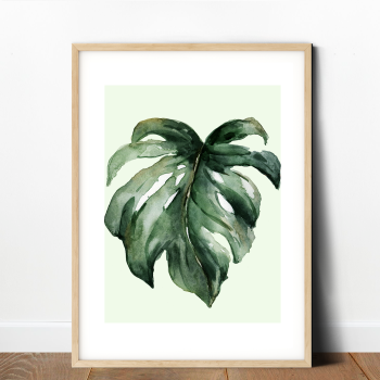 Watercolour Monstera Leaf Print