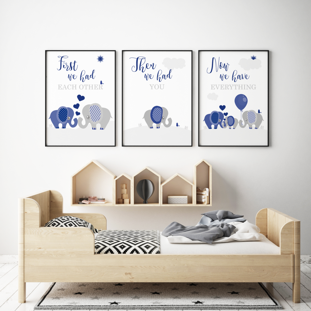Set of 3 First We Had Each other Elephant Nursery Prints Navy