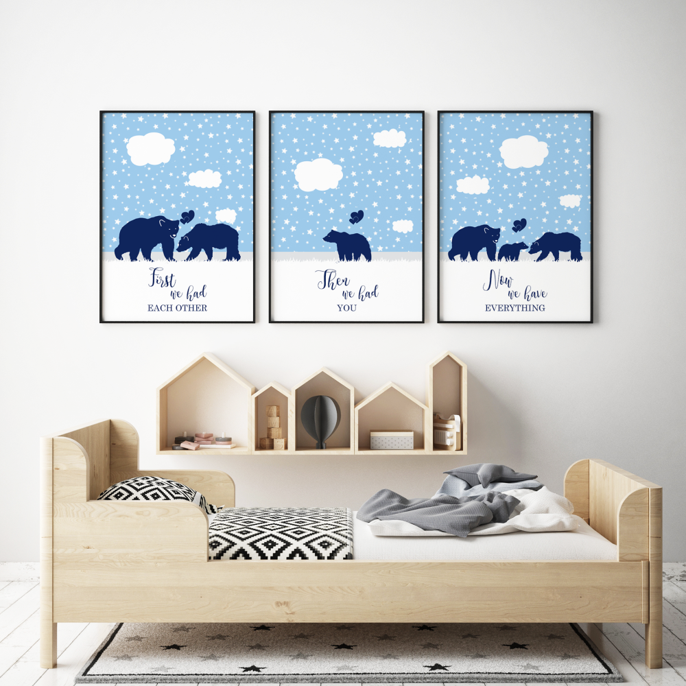 Set of 3 First We Had Each other Blue Bears Prints