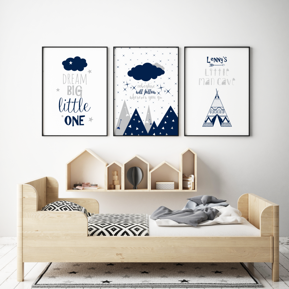 Little Man Cave Set Navy Blue