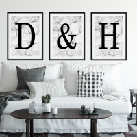 Set of 3 Marble Initial prints