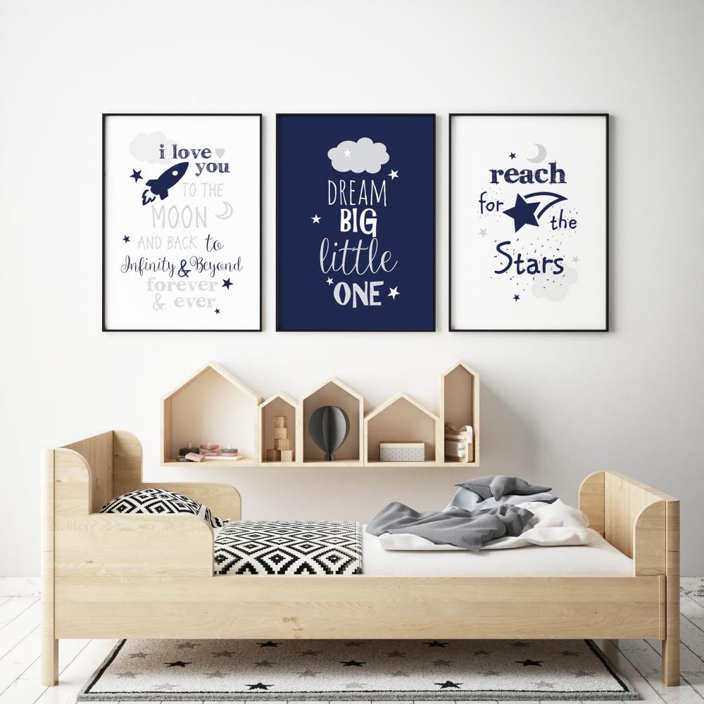 Navy and Grey Dream Big Nursery Prints 3pc Set